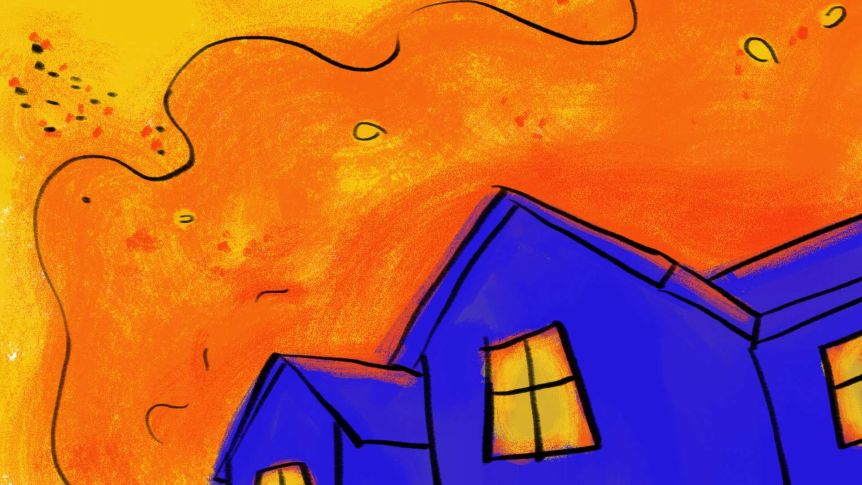 Dessin d'une maison bleue avec de la fumée orange et des flammes derrière elle