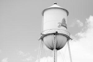 Une photo en noir et blanc de la tour d'eau à Harrington avec le logo Delaware State Fair
