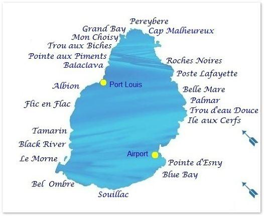 Carte de Maurice pour le temps à la plage