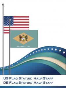 États-Unis et drapeaux d'état à la moitié du personnel