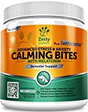 Zesty Paws Chews Soft Calming Advanced Advanced pour chiens - avec Suntheanine & Melatonin - Aide à la suppression d'anxiété avec L Tryptophane pour le soulagement du stress du chien - pour Storms + Barking & Chewing - 90 friandises