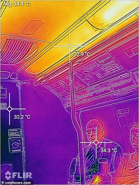 Thermal images of the Piccadilly Line this morning show a man looking uncomfortable and hot