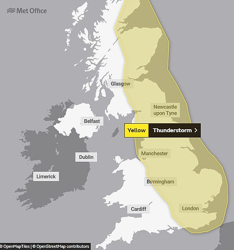 A thunderstorm warning issued from 3pm today until 4am tomorrow