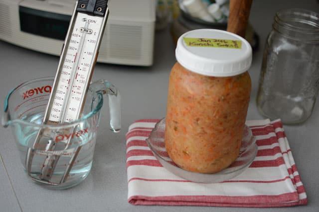 Utilisez un thermomètre à sonde dans une tasse d'eau pour vérifier la température de fermentation. | makesauerkraut.com