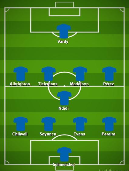 Équipe de Leicester prévue contre Liverpool