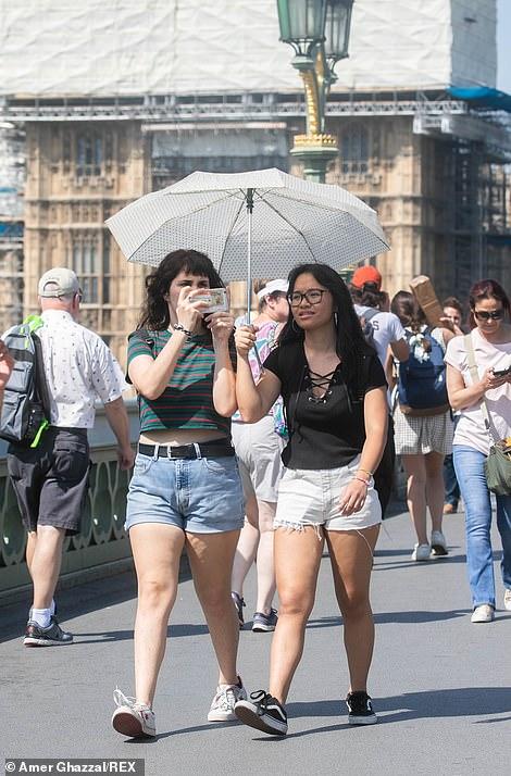 Pedestrians use umbrellas under the sun today