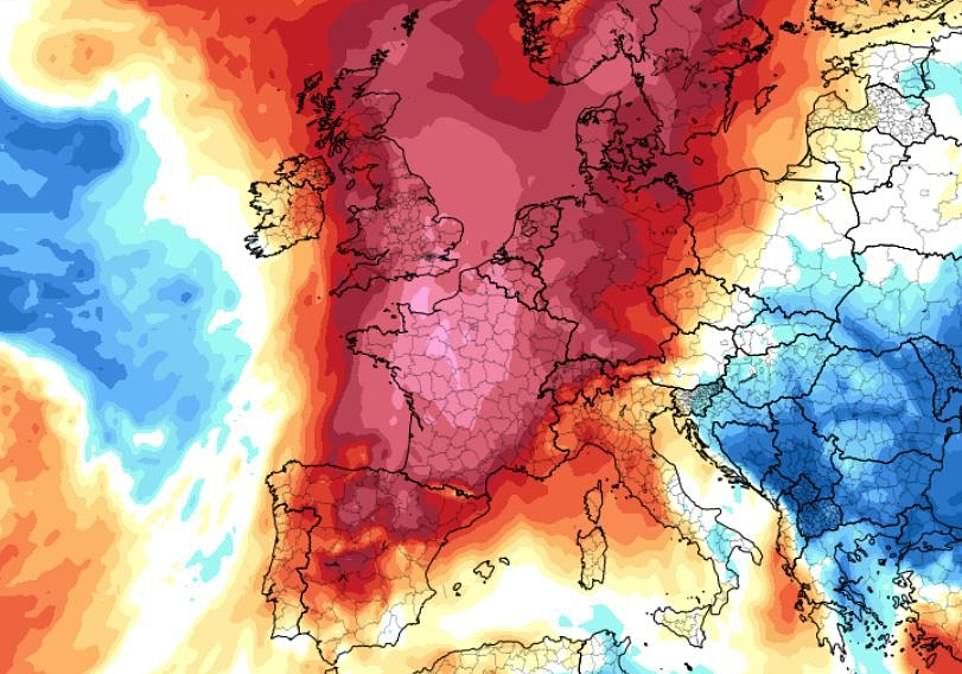 A Met Office spokesman said there is a chance today could see the hottest UK temperature ever - heat flare shown in red