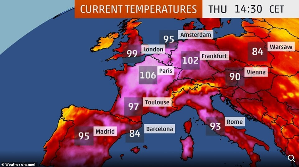 Germany, Belgium and the Netherlands all experienced their hottest days ever today with the UK's record also set to tumble as the year's second heatwave gripped the continent