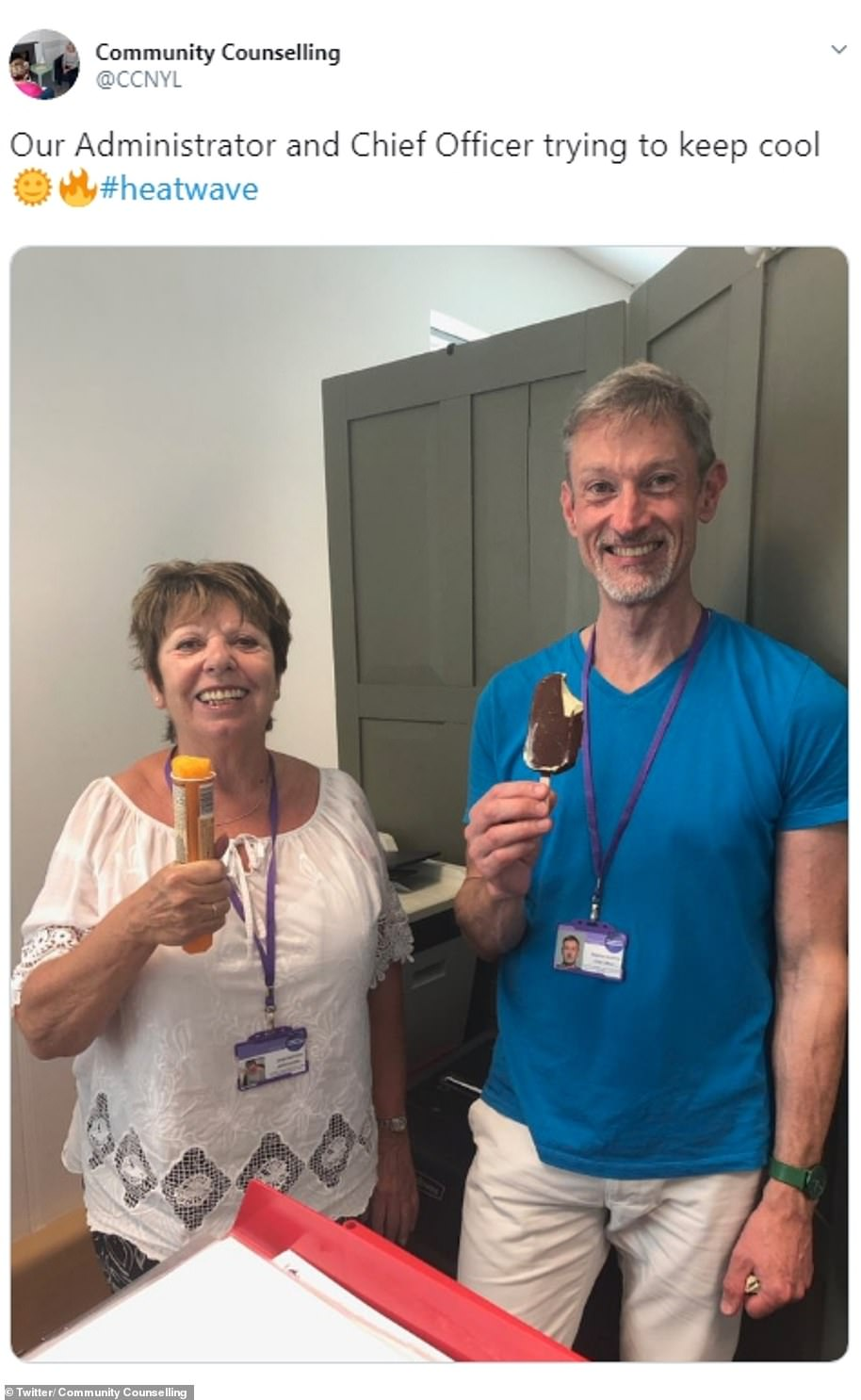Workers bought ice cream for en masse to make sure they keep cool in the office today