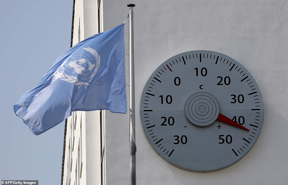 The thermometer at the United Nations office shows 42 degrees in Bonn, western Germany