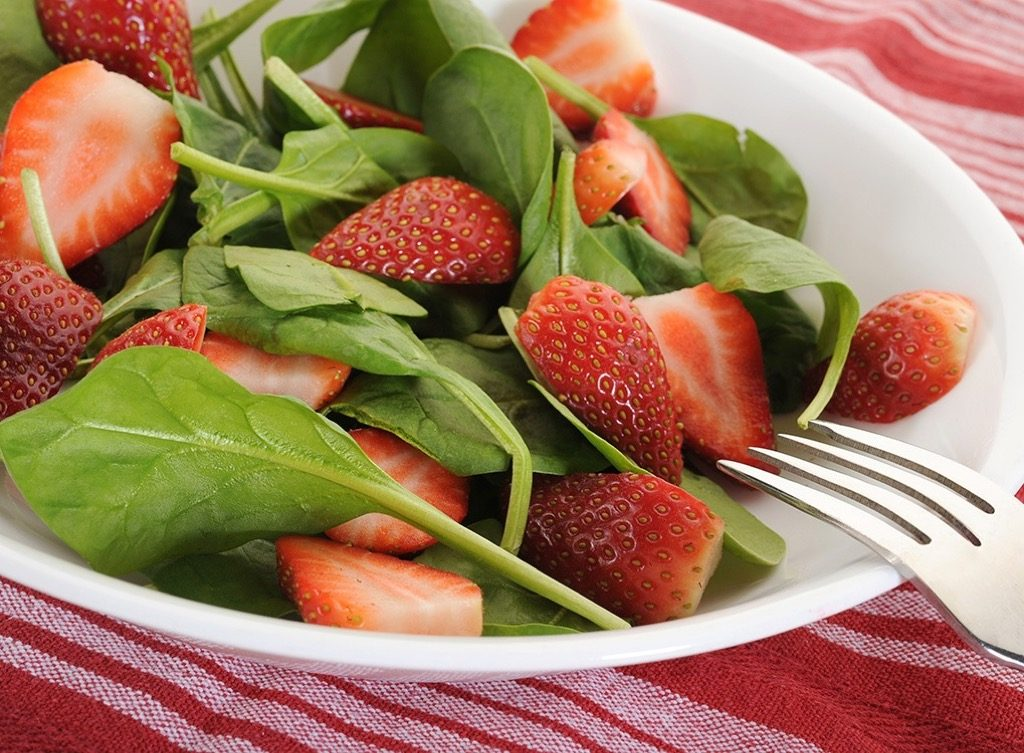 """Spinach in salad Lower Blood Pressure"""" width=""""1024"""" height=""""753"""" srcset=""""https://i0.wp.com/bestlifeonline.com/wp-content/uploads/2018/02/strawberry-spinach-salad.jpg?w=1024&ssl=1 1024w, https://i0.wp.com/bestlifeonline.com/wp-content/uploads/2018/02/strawberry-spinach-salad.jpg?resize=500%2C368&ssl=1 500w, https://i0.wp.com/bestlifeonline.com/wp-content/uploads/2018/02/strawberry-spinach-salad.jpg?resize=768%2C565&ssl=1 768w, https://i0.wp.com/bestlifeonline.com/wp-content/uploads/2018/02/strawberry-spinach-salad.jpg?resize=300%2C220&ssl=1 300w, https://i0.wp.com/bestlifeonline.com/wp-content/uploads/2018/02/strawberry-spinach-salad.jpg?resize=205%2C150&ssl=1 205w"""" sizes=""""(max-width: 1000px) 100vw, 1000px"""" data-recalc-dims=""""1"""