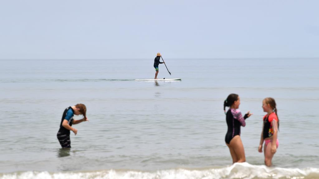 Les amateurs de plage se rafraîchissent sur la plage d'Aldinga à Adélaïde. Image: Image AAP / David Mariuz
