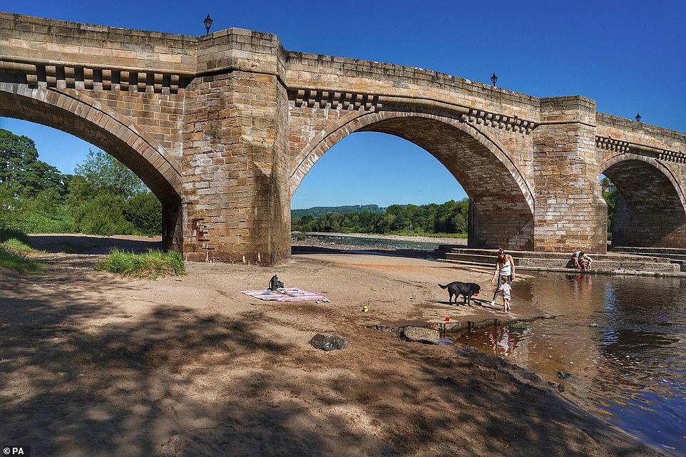 Les faibles niveaux d'eau à Corbridge dans le Northumberland après le mois de mai le plus sec jamais enregistré depuis 1896